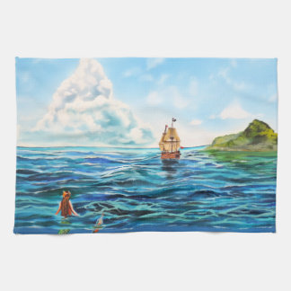 The little Mermaid seascape painting Kitchen Towel
