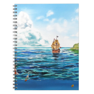 The little Mermaid seascape painting Spiral Notebook