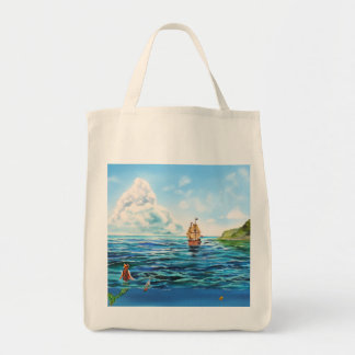 The little Mermaid seascape painting Tote Bag