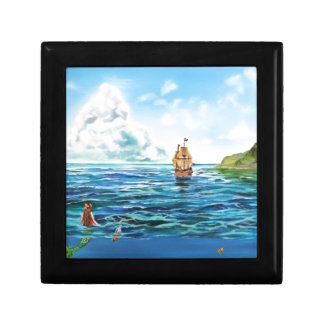 The little Mermaid seascape painting Trinket Boxes