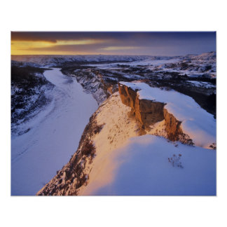 The Little Missouri River in winter in Poster