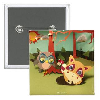 The Little Star Owl & Raccoon Button