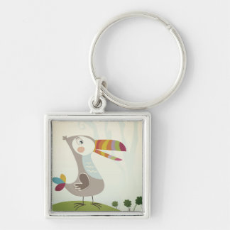 The little Toucan cartoon button Silver-Colored Square Keychain