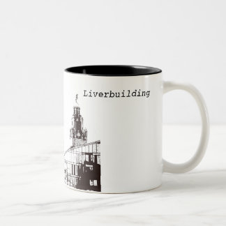 The Liverbuilding in black and white Two-Tone Coffee Mug