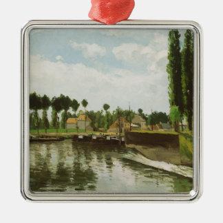 The Lock at Pontoise Metal Ornament