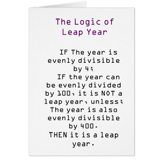 The Logic of Leap Year Card