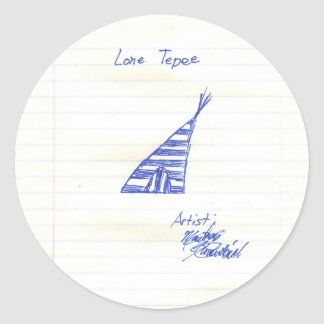 the Lone Tepee Round Sticker