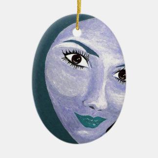 THE LOOK ( blue ) Ceramic Ornament