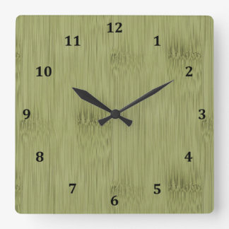The Look of Bamboo in Olive Moss Green Wood Grain Clock