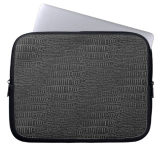 The Look of Black Realistic Alligator Skin Laptop Sleeve
