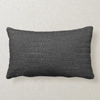 The Look of Black Realistic Alligator Skin Lumbar Pillow