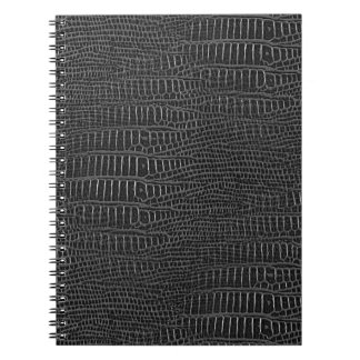 The Look of Black Realistic Alligator Skin Spiral Notebook