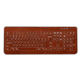 The Look of Brown Realistic Alligator Skin Wireless Keyboard