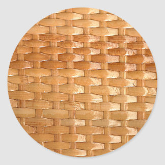 The Look of Lacquer Wicker Basketweave Texture Round Sticker