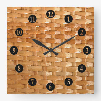 The Look of Lacquer Wicker Basketweave Texture Square Wall Clock