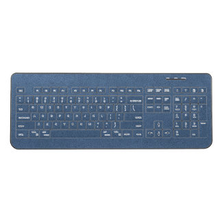 The look of Snuggly Slate Blue Suede Texture Wireless Keyboard