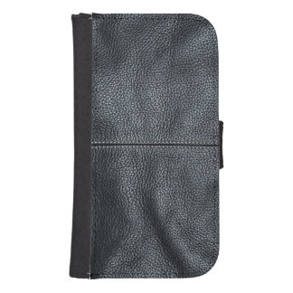 The Look of Soft Stitched Black Leather Grain Galaxy S4 Wallets