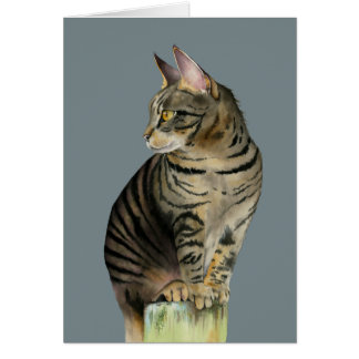 """The Lookout"" Tabby Cat on Wood Post Illustration Card"