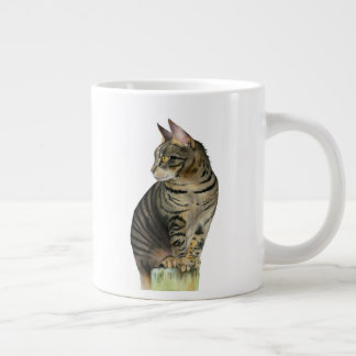 """""""The Lookout"""" Tabby Cat on Wood Post Illustration Large Coffee Mug"""