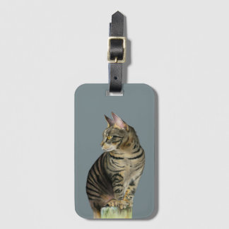 """""""The Lookout"""" Tabby Cat on Wood Post Illustration Luggage Tag"""