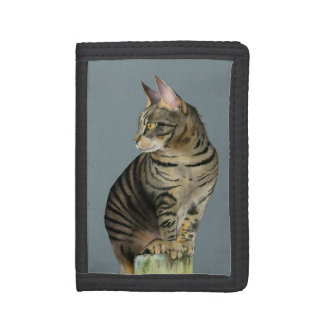 """The Lookout"" Tabby Cat on Wood Post Illustration Trifold Wallet"