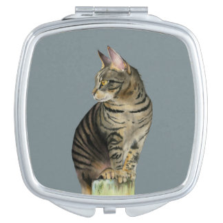 """""""The Lookout"""" Tabby Cat on Wood Post Illustration Vanity Mirrors"""