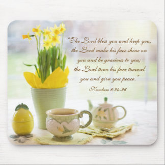 The Lord Bless You Bible Verse Tea Party Daffodils Mouse Pad