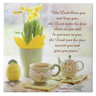 The Lord Bless You Bible Verse Tea Party Daffodils Tile