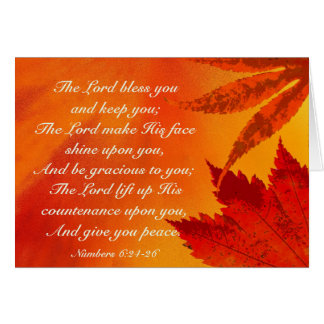 The Lord Bless You, Numbers 6:24-26, Autumn Leaves Card