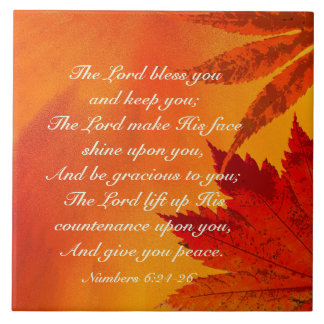 The Lord Bless You, Numbers 6:24-26, Autumn Leaves Tiles