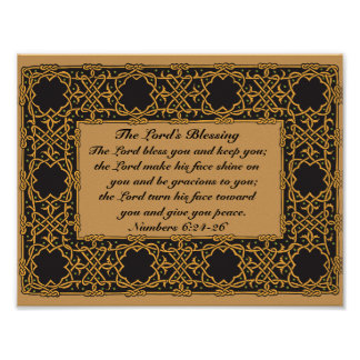 The Lord Bless You, Numbers 6:24, Celtic Design Poster
