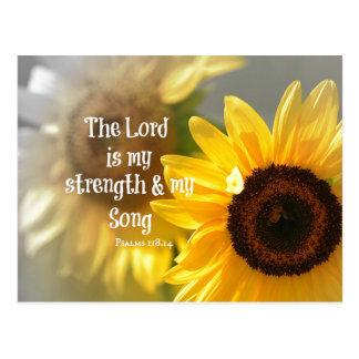The Lord is my Strength and Song Bible Verse Postcard