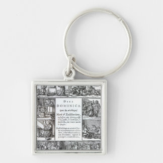 The Lord's Day, 1639 Silver-Colored Square Keychain