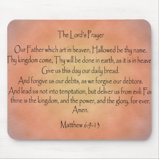 The Lord's Prayer, Orange Vintage Background Mousepad