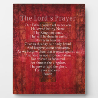 The Lord's Prayer Words traditional Plaque