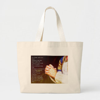 The Lords Praying Hands Large Tote Bag