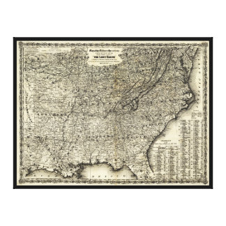 The Lost Cause, Civil War Map (1861-1865) Canvas Print