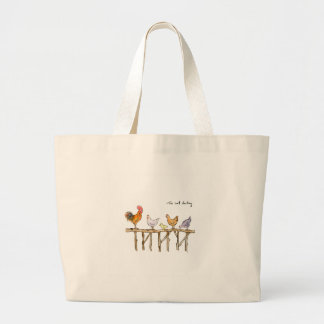 The lost duckling, chickens and duckling large tote bag