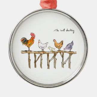 The lost duckling, chickens and duckling metal ornament