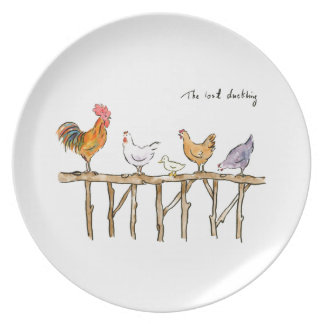 The lost duckling, chickens and duckling plate