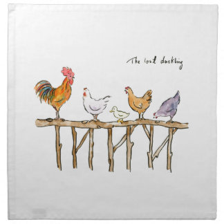 The lost duckling, chickens and duckling printed napkins