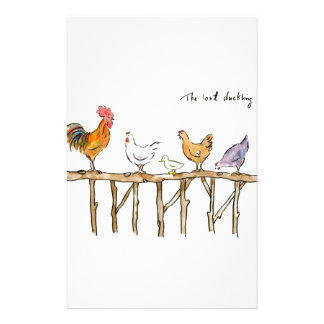 The lost duckling, chickens and duckling stationery