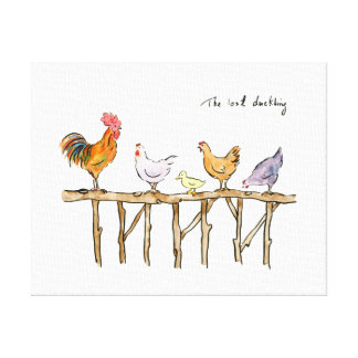 The lost duckling, rooster and hens comic Print