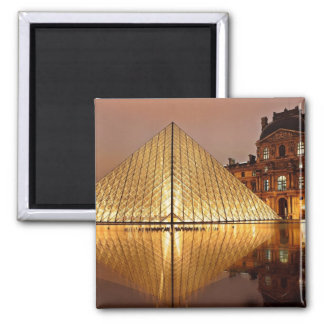 The Louvre gallery, Paris at night Square Magnet