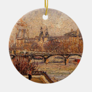 The Louvre, Morning by Camille Pissarro Ceramic Ornament