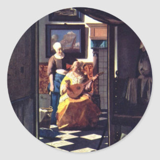 The Love Letter,  By Johannes Vermeer Classic Round Sticker