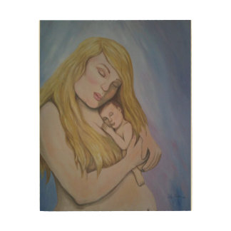 """The Love of a Mother"" art print on wood plaque. Wood Prints"