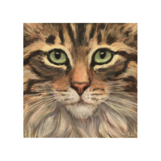 """The Love of a Tabby"" Wood Wall Print"