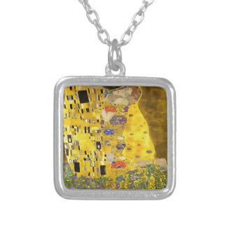 The Lovers Kiss After Klimt Silver Plated Necklace