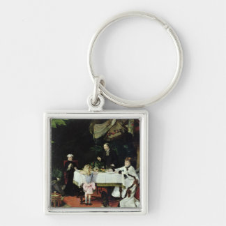 The Luncheon in the Conservatory, 1877 Silver-Colored Square Keychain